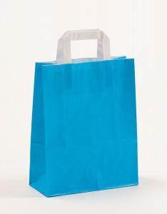 Papiertragetaschen mit Flachhenkel blau 22 x 10 x 28 cm, 025 Stück