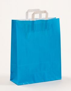 Papiertragetaschen mit Flachhenkel blau 32 x 12 x 40 cm, 150 Stück