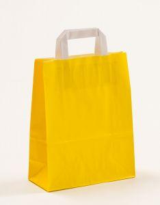 Papiertragetaschen mit Flachhenkel gelb 22 x 10 x 28 cm, 100 Stück