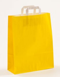 Papiertragetaschen mit Flachhenkel gelb 32 x 12 x 40 cm, 050 Stück
