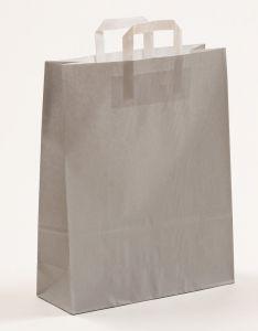 Papiertragetaschen mit Flachhenkel grau 32 x 12 x 40 cm, 100 Stück