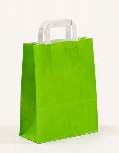Papiertragetaschen mit Flachhenkel grün 22 x 10 x 28 cm, 100 Stück