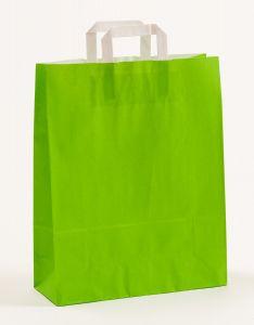 Papiertragetaschen mit Flachhenkel grün 32 x 12 x 40 cm, 100 Stück