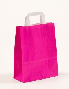 Papiertragetaschen mit Flachhenkel pink 22 x 10 x 28 cm, 025 Stück