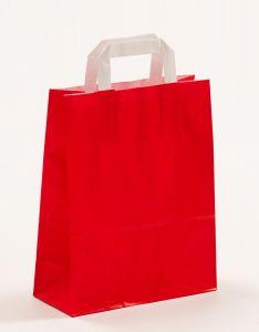 Papiertragetaschen mit Flachhenkel rot 22 x 10 x 28 cm, 025 Stück