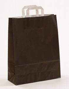 Papiertragetaschen mit Flachhenkel schwarz 32 x 12 x 40 cm, 200 Stück