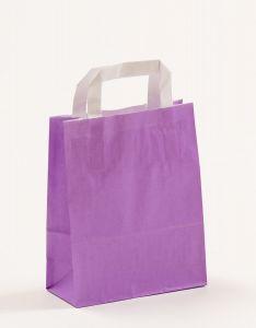 Papiertragetaschen mit Flachhenkel violett 18 x 8 x 22 cm, 050 Stück