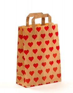 Papiertragetaschen mit Flachhenkel Herzen 22 x 10 x 31 cm, 150 Stück