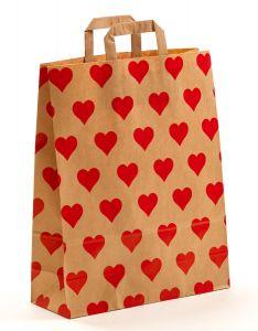 Papiertragetaschen mit Flachhenkel Herzen 32 x 12 x 40 cm, 150 Stück