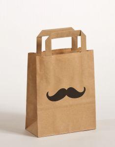 Papiertragetaschen mit Flachhenkel Moustache 18 x 8 x 22 cm, 250 Stück