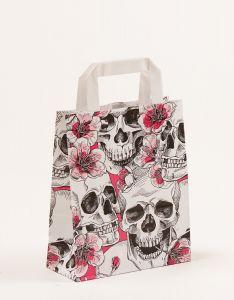 Papiertragetaschen mit Flachhenkel Skulls & Flowers 18 x 8 x 22 cm, 100 Stück