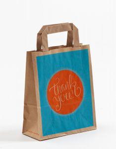 Papiertragetaschen mit Flachhenkel THANK YOU! 18 x 8 x 22 cm, 100 Stück