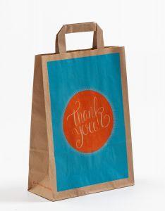 Papiertragetaschen mit Flachhenkel THANK YOU! 22 x 10 x 31 cm, 100 Stück