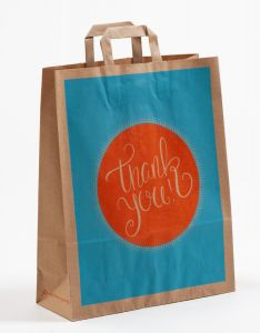 Papiertragetaschen mit Flachhenkel THANK YOU! 32 x 12 x 40 cm, 050 Stück