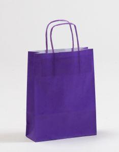 Papiertragetaschen mit gedrehter Papierkordel violett lila 18 x 7 x 24 cm, 100 Stück