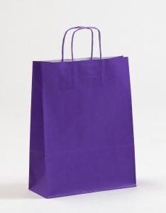 Papiertragetaschen mit gedrehter Papierkordel violett lila 24 x 10 x 31 cm, 150 Stück