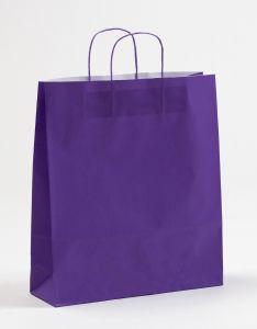 Papiertragetaschen mit gedrehter Papierkordel violett lila 36 x 12 x 41 cm, 100 Stück