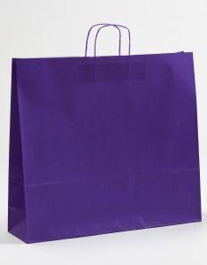 Papiertragetaschen mit gedrehter Papierkordel violett lila 54 x 14 x 50 cm, 100 Stück