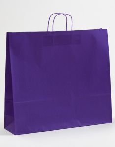 Papiertragetaschen mit gedrehter Papierkordel violett lila 54 x 14 x 50 cm, 150 Stück