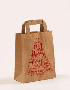 Papiertragetaschen mit Flachhenkel Merry Christmas 18 x 8 x 22 cm, 025 Stück