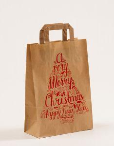 Papiertragetaschen mit Flachhenkel Merry Christmas 22 x 10 x 31 cm, 100 Stück