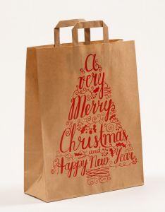 Papiertragetaschen mit Flachhenkel Merry Christmas 32 x 12 x 40 cm, 025 Stück