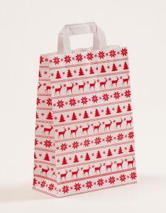 Papiertragetaschen mit Flachhenkel Norweger weiß 22 x 10 x 31 cm, 100 Stück