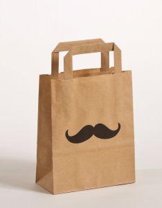 Papiertragetaschen mit Flachhenkel Moustache 18 x 8 x 22 cm, 100 Stück