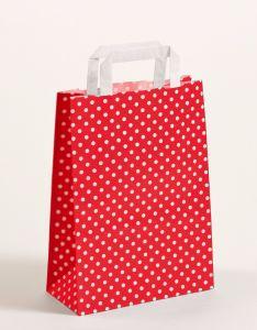 Papiertragetaschen mit Flachhenkel Punkte rot 22 x 10 x 31 cm, 100 Stück
