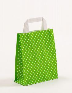 Papiertragetaschen mit Flachhenkel Punkte grün 18 x 8 x 22 cm, 025 Stück