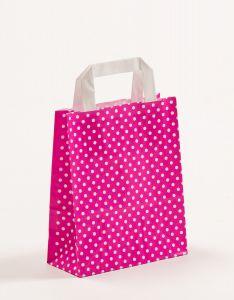 Papiertragetaschen mit Flachhenkel Punkte pink 18 x 8 x 22 cm, 200 Stück