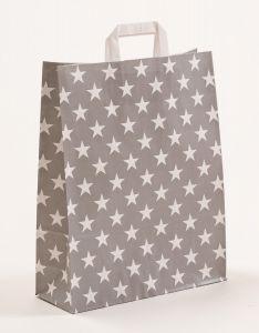 Papiertragetaschen mit Flachhenkel Sterne grau 32 x 12 x 40 cm, 200 Stück
