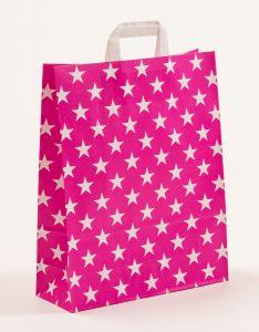 Papiertragetaschen mit Flachhenkel Sterne pink 32 x 12 x 40 cm, 200 Stück