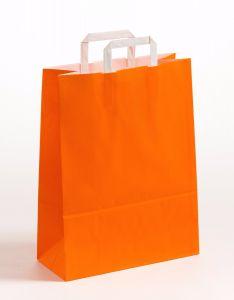 Papiertragetaschen mit Flachhenkel orange 32 x 12 x 40 cm, 100 Stück