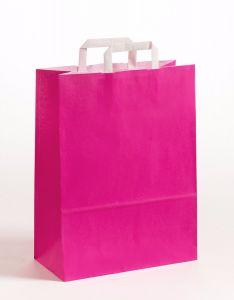 Papiertragetaschen mit Flachhenkel pink 32 x 12 x 40 cm, 050 Stück
