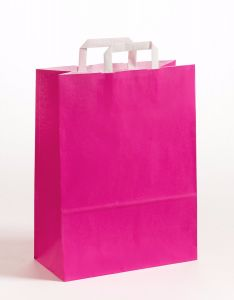 Papiertragetaschen mit Flachhenkel pink 32 x 12 x 40 cm, 100 Stück