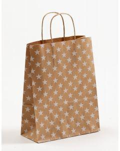 Papiertragetaschen mit gedrehter Papierkordel Sterne weiß 22 x 10 x 28 cm, 050 Stück