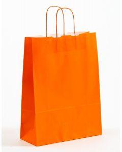 Papiertragetaschen mit gedrehter Papierkordel orange 32 x 13 x 42,5 cm, 150 Stück