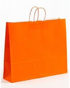 Papiertragetaschen mit gedrehter Papierkordel orange 54 x 14 x 45 cm, 100 Stück