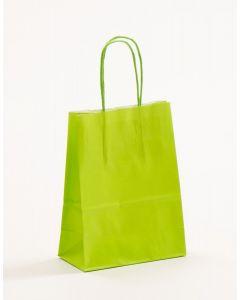 Papiertragetaschen mit gedrehter Papierkordel hellgrün 15 x 8 x 20 cm, 025 Stück