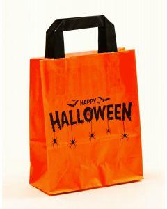 Papiertragetaschen mit Flachhenkel Happy Halloween 18 x 8 x 22 cm, 150 Stück