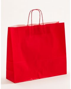 Papiertragetaschen mit gedrehter Papierkordel rot 42 x 13 x 37 cm, 050 Stück