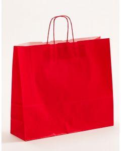 Papiertragetaschen mit gedrehter Papierkordel rot 42 x 13 x 37 cm, 100 Stück