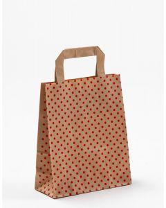 Papiertragetaschen mit Flachhenkel Punkte rot auf braun natur 18 x 8 x 22 cm, 025 Stück