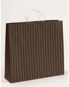 Papiertragetaschen mit Nadelstreifen graubraun 54 x 14 x 49,5 + 6 cm, 100 Stück