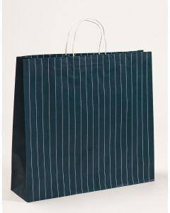 Papiertragetaschen mit Nadelstreifen petrol 54 x 14 x 49,5 + 6 cm, 100 Stück
