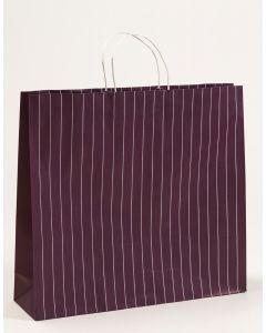 Papiertragetaschen mit Nadelstreifen aubergine 54 x 14 x 49,5 + 6 cm, 100 Stück